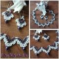 Golyócskás nyaklánc fülivel - pasztell lila